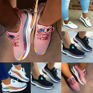 WOMENS LADIES LACE UP MESH TRAINERS GYM