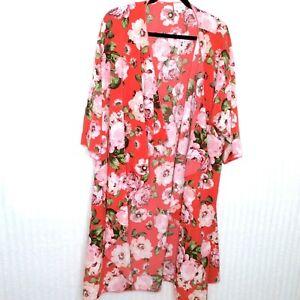 Lularoe-da-donna-SHIRLEY-Kimono-Arancione-Rosa-Stampa-Floreale-Taglia-Large-L-COPRI