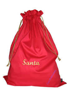 Personalised-Big-Drill-Santa-Sack-bag-Gathers-65cmx50cm-Choose-colour-amp-cord