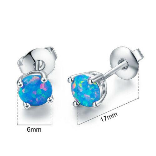 1 Pair Woman Fashion 925 Silver Jewelry Blue Fire Opal Charm Stud Earring NEW ~~