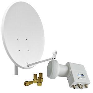 Digital-Sat-Anlage-80cm-Schuessel-Spiegel-Antenne-Quattro-LNB-fuer-Multischalter