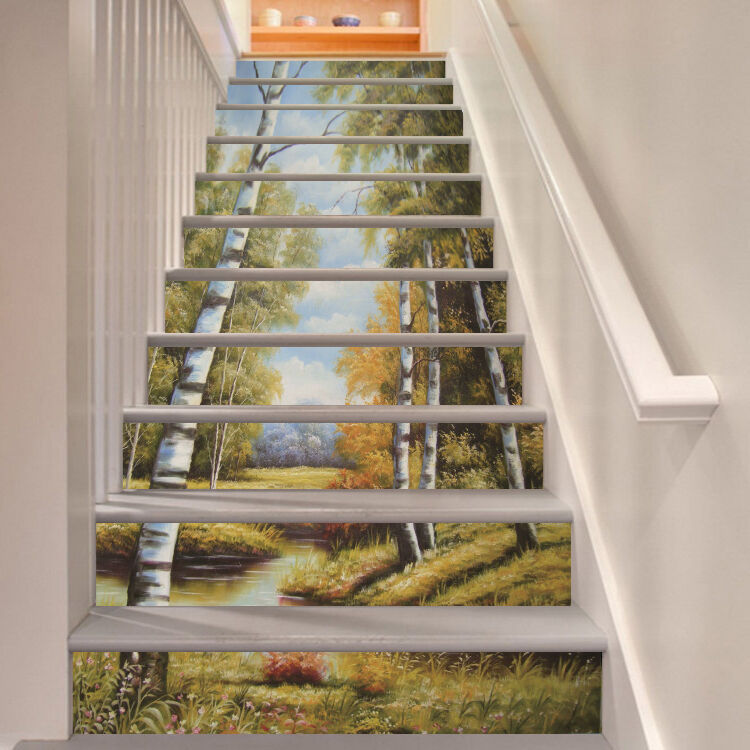 3D Painting Forest Stair Risers Decoration Photo Mural Vinyl Decal Wallpaper UK