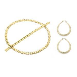 Womens-14K-Gold-fn-Hugs-and-Kisses-Necklace-Bracelet-20-034-XO-Earrings-Set