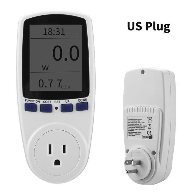 Hukai Digital Power Meter Socket EU//US//UK Plug Energy Meter Current Voltage Watt Electricity Cost Measuring Monitor Power Analyzer Electronic Outlet Socket