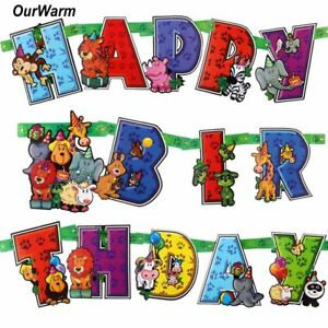 Image Is Loading DIY Party Banner Animal Happy Birthday