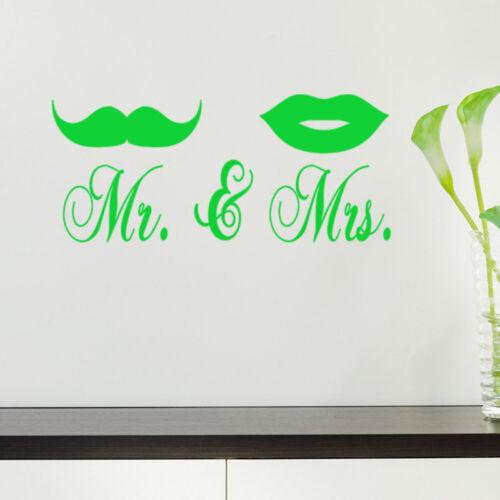Mr /& Mrs Moustache Lèvres Autocollant Mural Chambre Vinyle Design Decal Decor