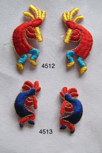 Left /& Right Kokopelli Fertility Deity God Facing Embroidery Applique Patch