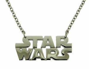 Star Wars Pendant Necklace Dog Tag Chrome Metal Usa American Movie Logo Western.