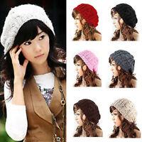 Damen Mützen Wintermütze Baggy Wollmütze Beanie Hat Strickmütze Ski Hut Kappe