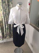 Hobbs Size 10 Shirt Work Dress Tie Front Smart Office Attire Business