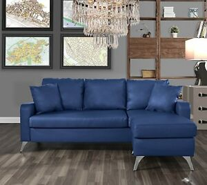Details about Bonded Leather Sectional Sofa - Small Space Couch w/ Matching  Pillows (2), Blue