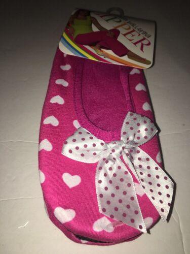 Blue Star fashion ballerina house slipper-L//XL SZ 9-11 pink w hearts /& bow tie