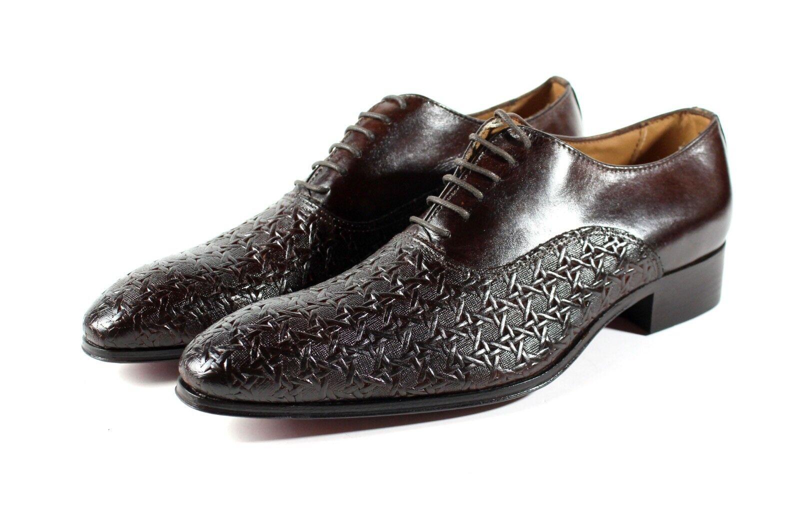 Ivan Troy Marrón Cuero Italiano Alou hecho a mano de vestir Zapatos Zapatos Oxford De Oficina