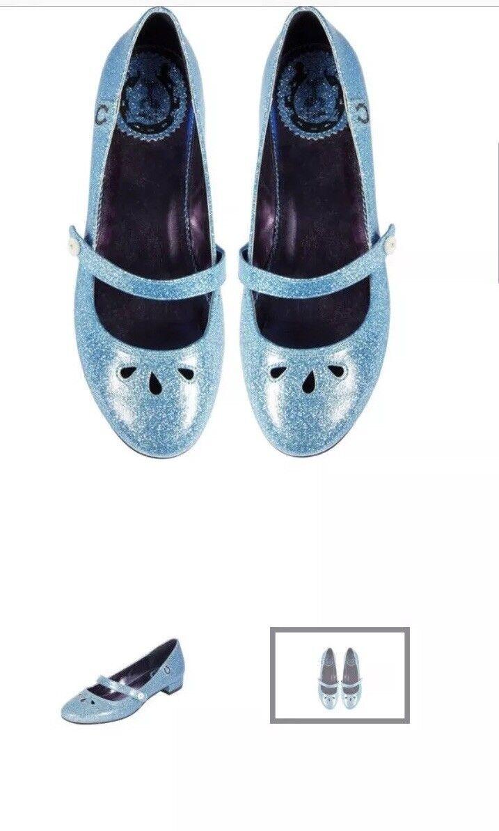 MissLFire Miss L Fire Glitter Glitter Glitter bluee 1960s Retro Repro Mod Maryjane shoes 39 8.5 482c91