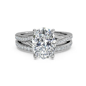 1.50 Ct Oval Cut Real Moissanite Engagement Band Set Solid 18K White Gold Size 7