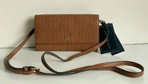 TOMMY-HILFIGER-BROWN-CONVERTIBLE-CLUTCH-WALLET-CROSSBODY-PHONE-SLING-BAG-69