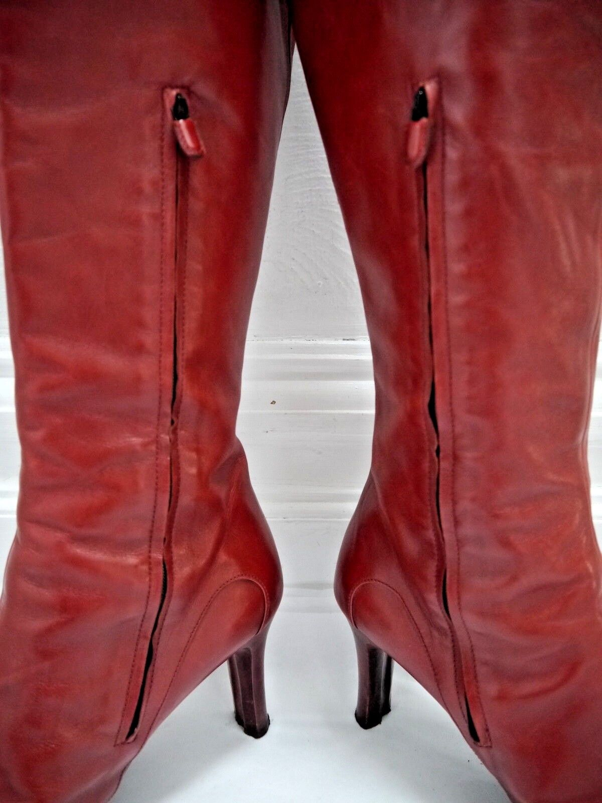 TOD'S dark red leather knee knee knee high boots Italian size 37 0ce93f