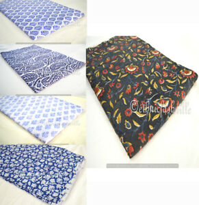 Indian-Handmade-Hand-Block-Print-Cotton-Fabric-Sanganeri-Vintage-Natural-Printed