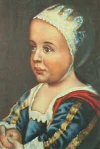 Antique Original Oil Painting Copia Cha. La Mendola Victorian Child Folk Art