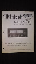 Mcintosh mc 2205 Service Manual original repair book stereo power amplifier amp