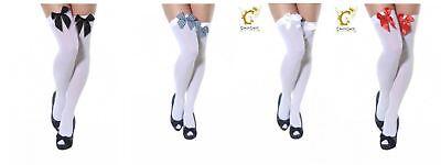 LiebenswüRdig Over The Knee Black White Bow Fancy Dress Tights Hold Up Stockings Opaque/white äRger LöSchen Und Durst LöSchen