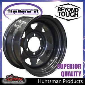16X8-6-Stud-Black-Steel-Thunder-Wheel-Rim-23-Offset-6-139-7-Suit-Toyota-patrol