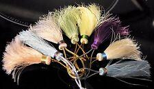 CREATION ! LOT 5 POMPONS COLORIS VARIES  EN SOIE 100%  +- 7 CM SILK TASSEL