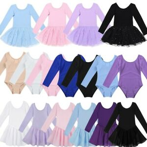 Girls-Kids-Ballet-Dance-Dress-Gymnastics-Leotard-Long-Sleeve-Tutu-Skirt-Costume