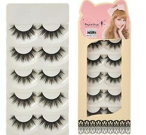 5-Pairs-Soft-Makeup-Thick-False-Eyelashes-Eye-Lashes-Long-Black-Nautral-Handmade