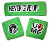 WWE AUTHENTIC JOHN CENA 3pc Neon Green Headband Wristbands Set BRAND NEW