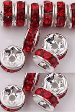 30 silver plated red crystal spacer beads