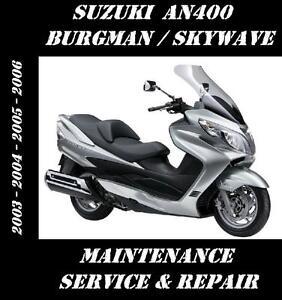 suzuki an400 burgman an 400 scooter service repair manual 2003 2004 rh ebay com suzuki burgman 400 service manual download suzuki burgman 400 service manual pdf