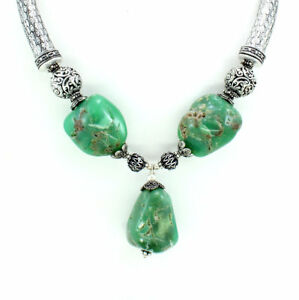Necklace-natural-Chrysoprase-antique-natural-defect-gemstone-beaded-141-grams