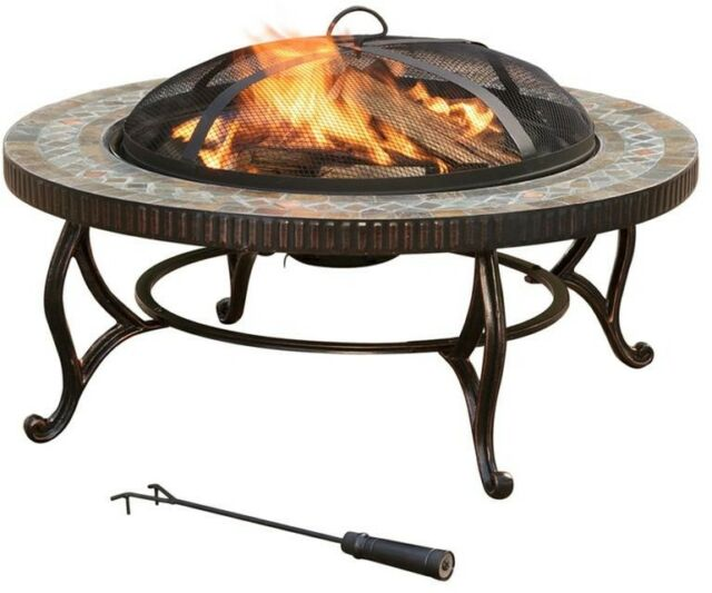 34in. Round Steel Fire Pit In Slate W/ Chrome Plated