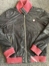 SUPERDRY CRASHED LEATHER JACKET Used Black Maroon Size XL