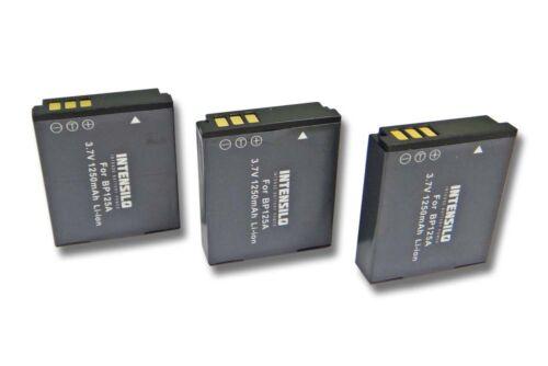 3x INTENSILO BATTERIA 1250mAh per Samsung HMX-M20 HMX-M 20 HMXM20