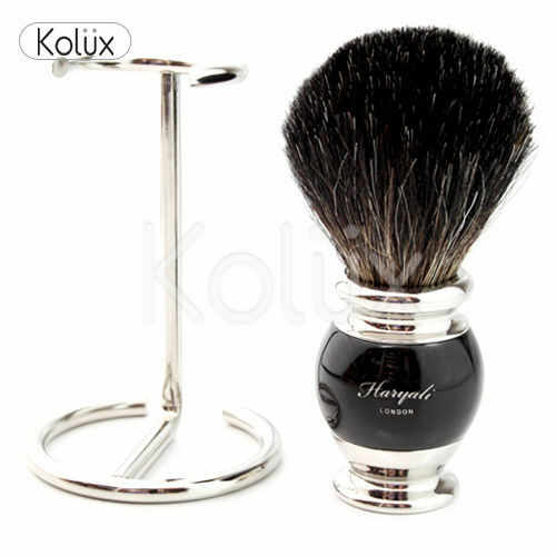 Mens Shaving Pure Black Badger Hair Shaving Brush,+ Free Brush Holder