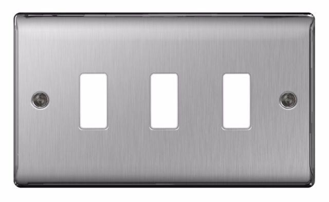Bg Nexus Grid 3 Gang Modular Front Plate Brushed Steel Gnbs3 For