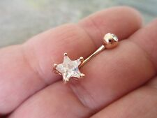 Gem Top Star Rose Gold Titanium Plated Belly Button Navel Ring Body Jewelry
