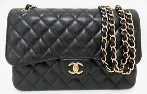 a0c213f7a9da Image is loading Chanel-Jumbo-Black-Caviar-Classic-Double-Flap-Bag-