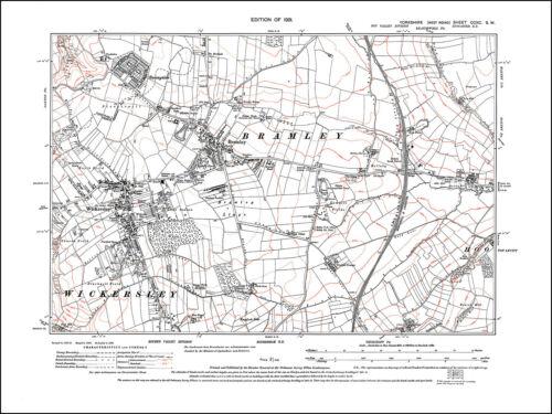 Wickersley Bramley old map Yorkshire 1931: 290SW repro Sunnyside