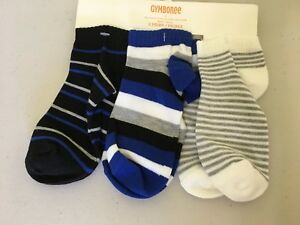 NWT Gymboree Boy Socks 3 pair pack Foldover Gray black White XXS,S,M,L