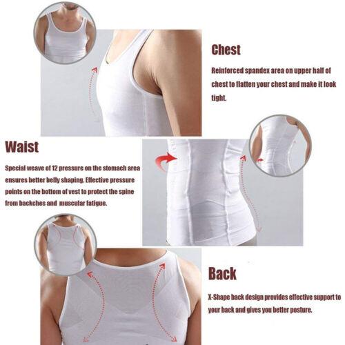 Mens Vest Slimming Body Shaper Belly Fatty Underwear Shirt Corset Compression UK