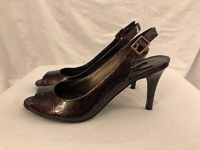 Jessica Simpson MaryAnne Heels Pumps 6B Brown Patent Reptile Peep Toe Slingbacks | eBay