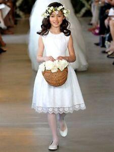 58fb2db4af4  1195 NEW Oscar de la Renta Swiss Dot Lace White Flower Girl Dress ...