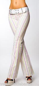 Pantaloni-Donna-con-Cintura-PINK-OIL-C021-Bianco-con-Righe-Tg-40-44