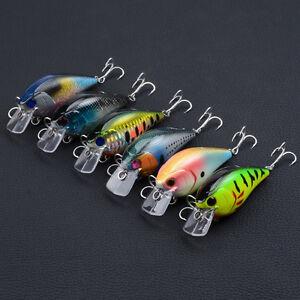 5pcs Lot 3D Wobbler Fishing lures Crank Bait 5.3cm//8.2g Crankbaits Hooks Tackle