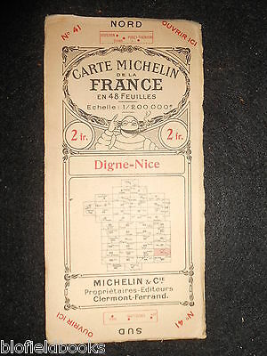 Vintage c1923 French Michelin Map of Digne-Nice (Feuille 41/Carte de France)