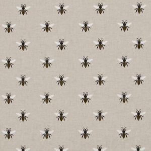 Linen Bumblebee Bee Curtain Craft Cushion Designer Linen Look Fabric