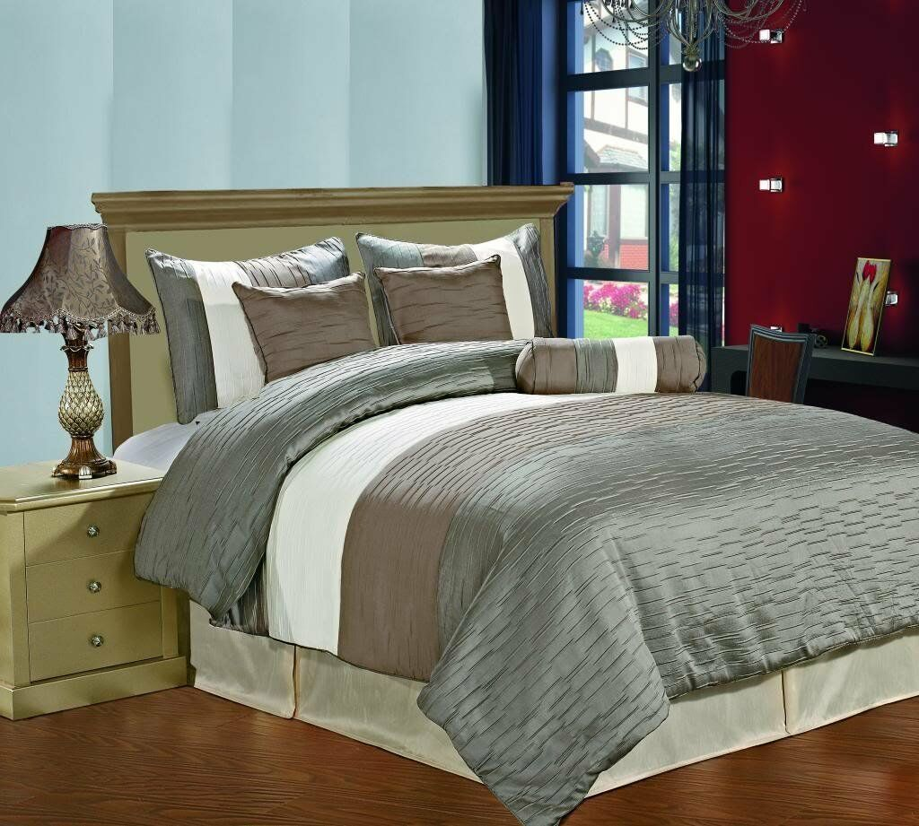 Luxury 7 PCS Bedding Jacquard Cream Taupe Slate  QUEEN Comforter Set.